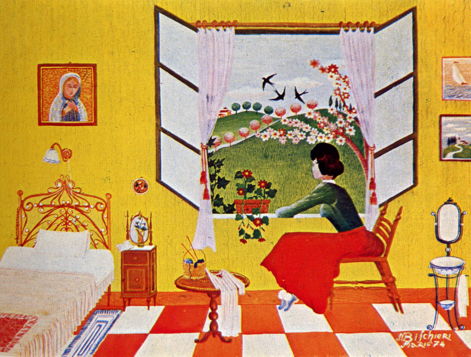 Cento e passa pittori naif 03 miglieruolo for Ragazza alla finestra quadro