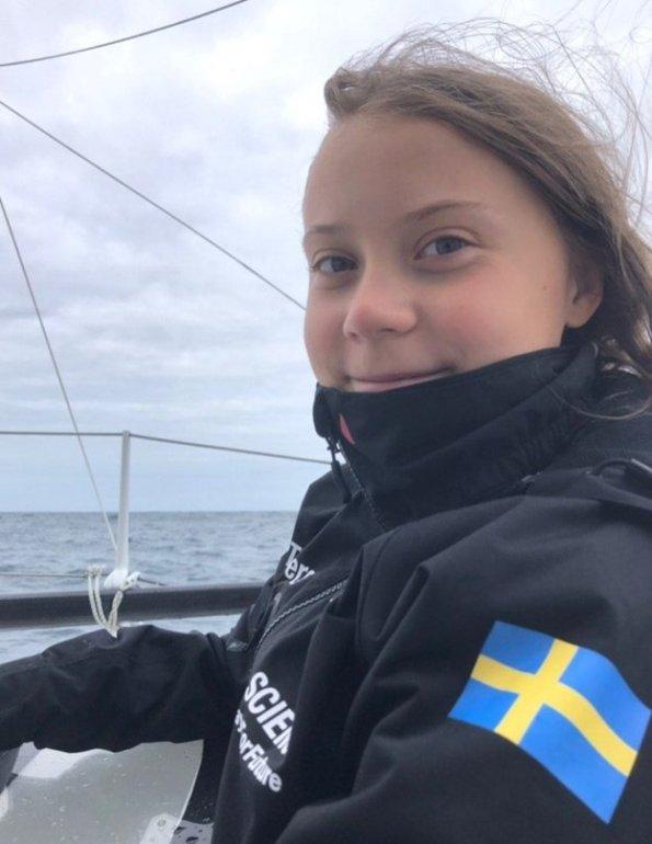 greta on boat